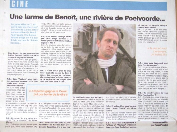 Benoît Poelvoorde (Nota Bene,n°15, mai 2005)